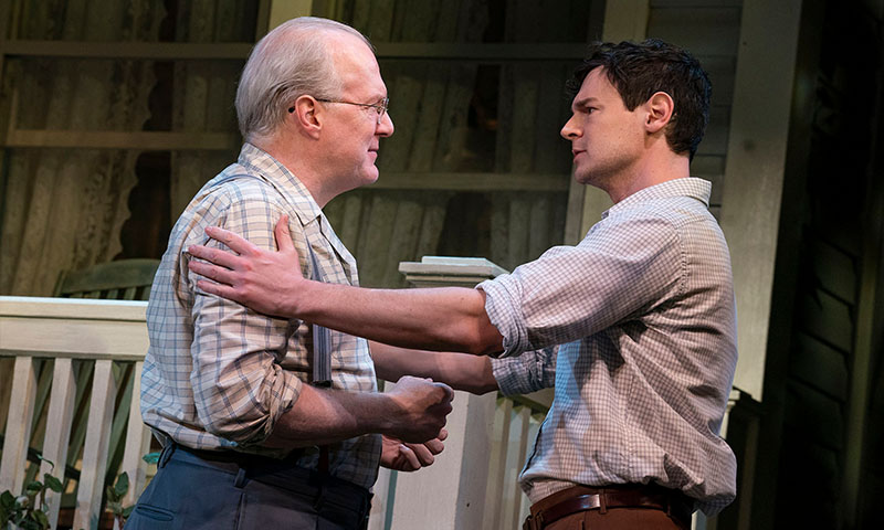 Tracy Letts and Benjamin Walker in <i>All My Sons</i>. Photo by Joan Marcus.