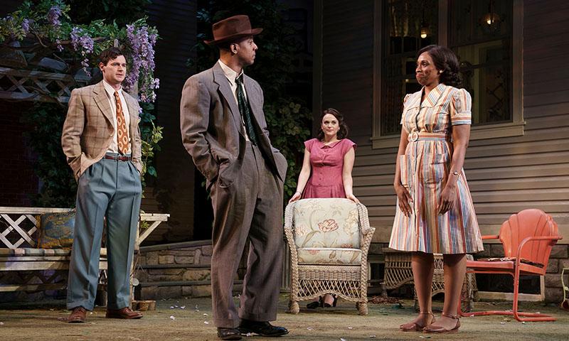 Benjamin Walker, Hampton Fluker, Francesca Carpanini, and Chinasa Ogbuagu in <i>All My Sons</i>. Photo by Joan Marcus.