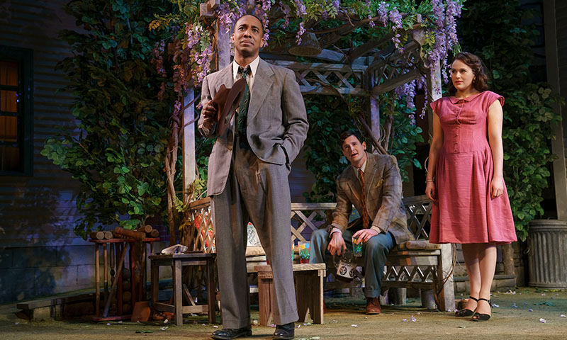 Hampton Fluker, Benjamin Walker, and Francesca Carpanini in <i>All My Sons</i>. Photo by Joan Marcus.