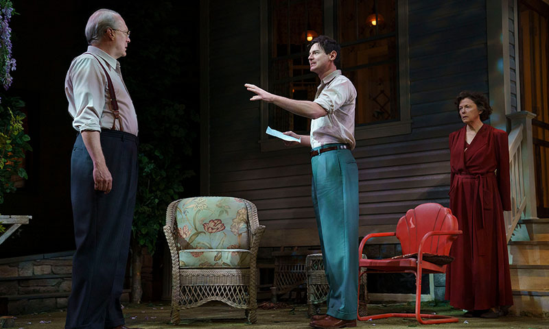 Tracy Letts, Benjamin Walker, and Annette Bening in <i>All My Sons</i>. Photo by Joan Marcus.