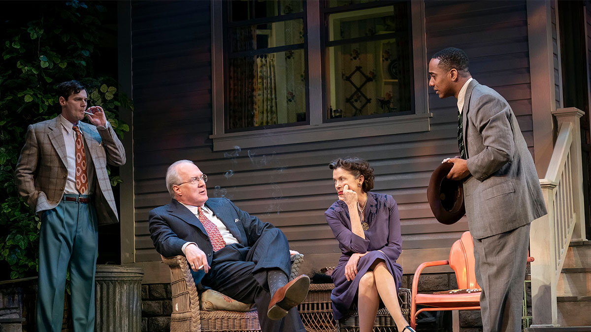 Benjamin Walker, Tracy Letts, Annette Bening, and Hampton Fluker in All My Sons. Photo by Joan Marcus.