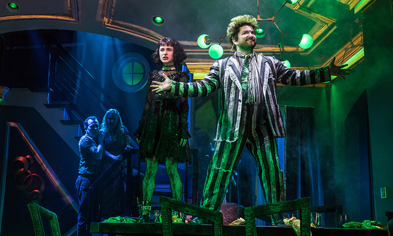 Rob McClure, Kerry Butler, Sophia Anne Caruso, and Alex Brightman in <i>Beetlejuice</i>. Photo by Matthew Murphy.