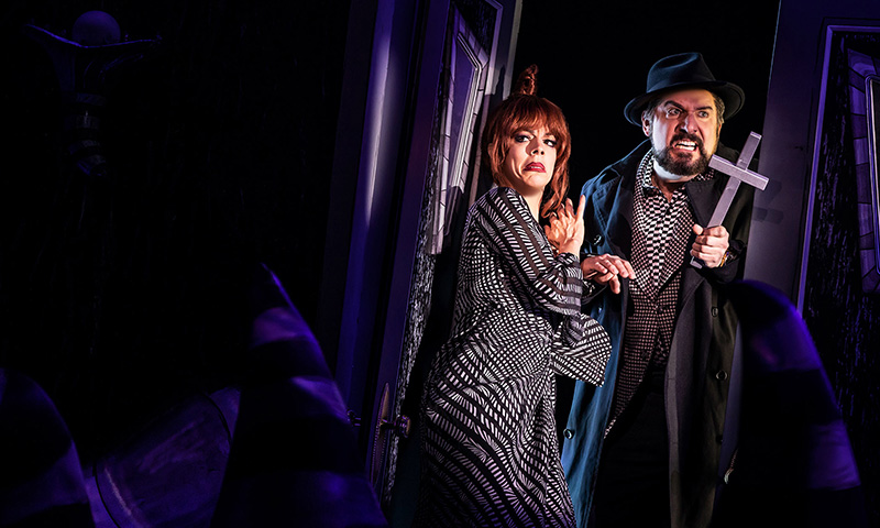 Leslie Kritzer and Adam Dannheisser in <i>Beetlejuice</i>. Photo by Matthew Murphy.