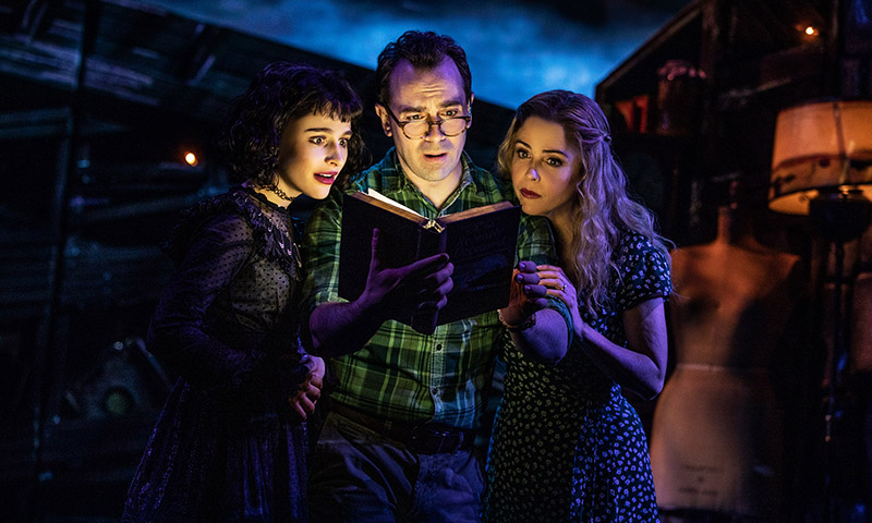Sophia Anne Caruso, Rob McClure, and Kerry Butler in <i>Beetlejuice</i>. Photo by Matthew Murphy.