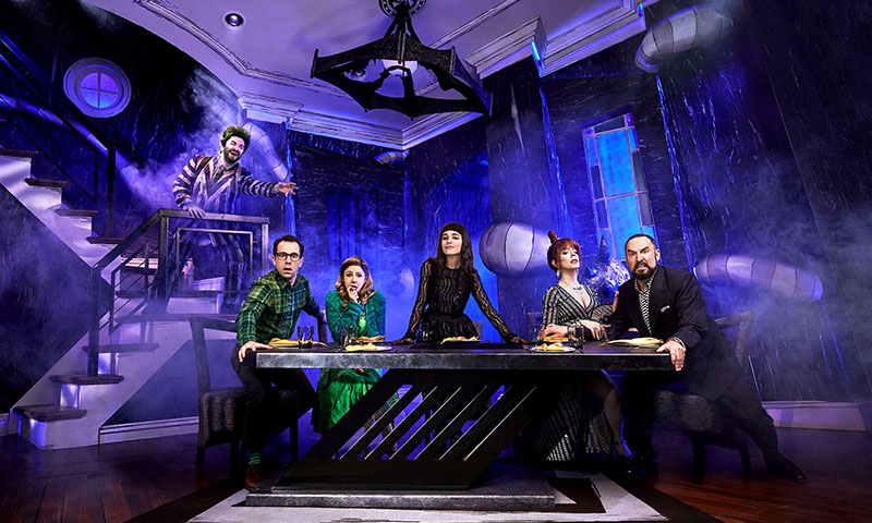 Alex Brightman, Rob McClure, Kerry Butler, Sophia Anne Caruso, Leslie Kritzer and Adam Dannheisser in <i>Beetlejuice</i>. Photo by Matthew Murphy.