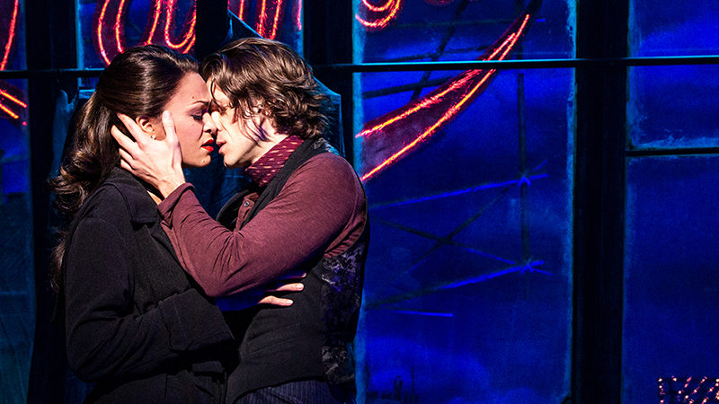 Karen Olivo and Aaron Tveit in Moulin Rouge the Musical