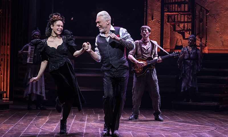 Amber Gray, Patrick Page and Reeve Carney in <i>Hadestown</i>. Photo by Matthew Murphy.