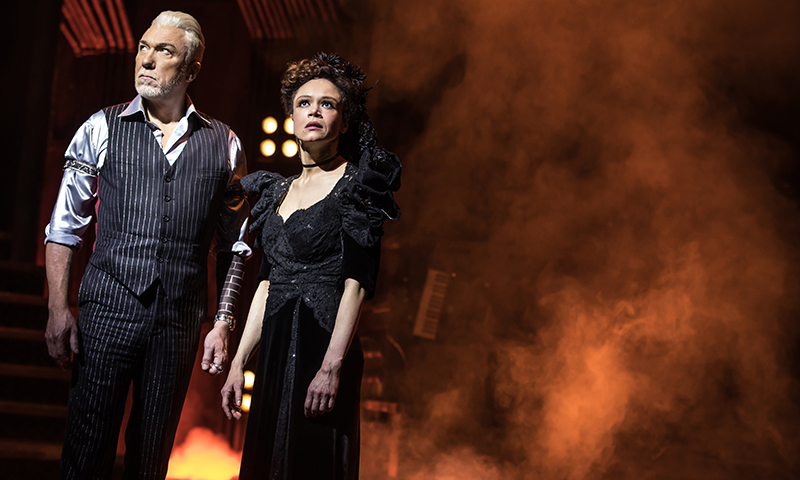 Patrick Page and Amber Gray in <i>Hadestown</i>. Photo by Matthew Murphy.