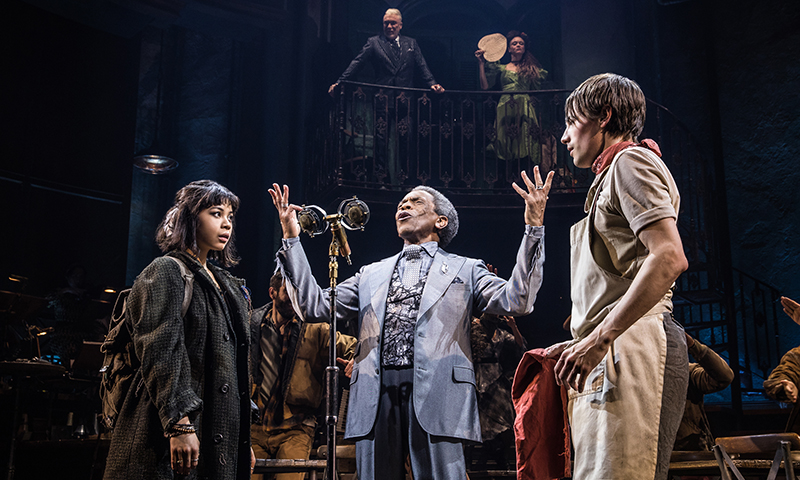 Eva Noblezada, Andre De Shields and Reeve Carney in <i>Hadestown</i>. Photo by Matthew Murphy.
