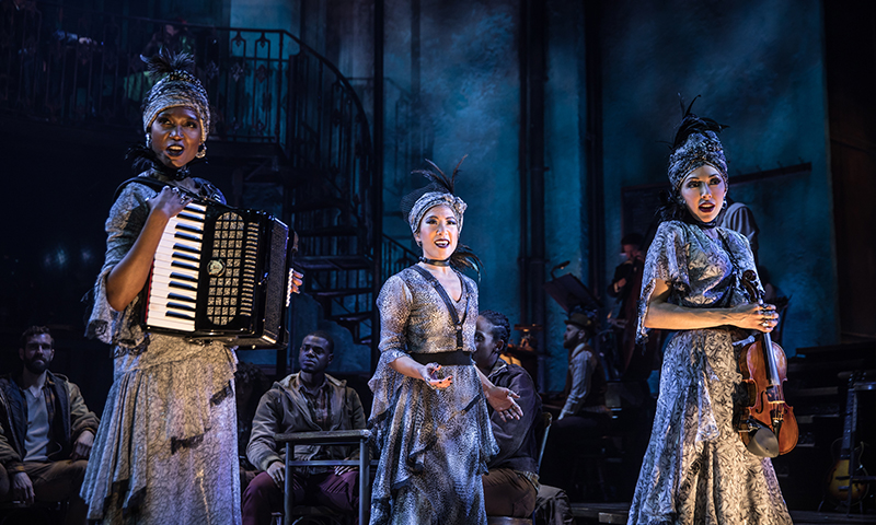 Jewelle Blackman, Kay Trinidad, and Yvette Gonzalez-Nacer in <i>Hadestown</i>. Photo by Matthew Murphy.