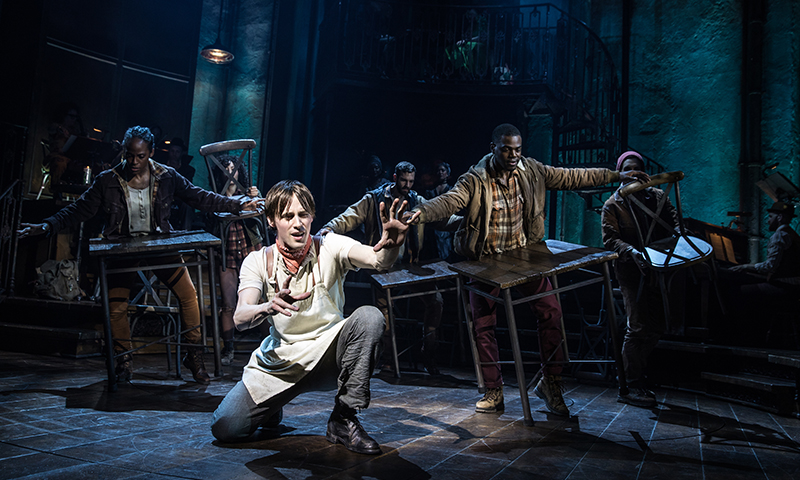 Reeve Carney and the Broadway cast of <i>Hadestown</i>. Photo by Matthew Murphy.