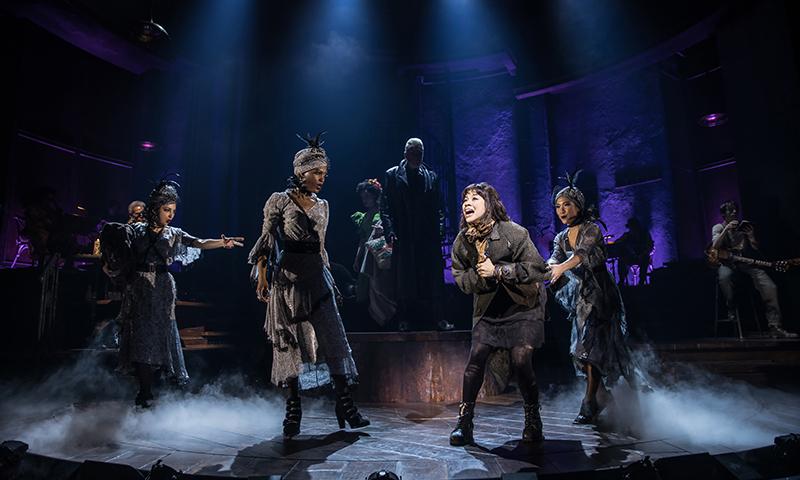 Eva Noblezada and the Broadway cast of <i>Hadestown</i>. Photo by Matthew Murphy.