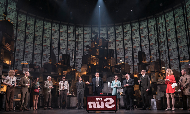 Andrew Durand, David Wilson Barnes, Rana Roy, Bill Buell, Eden Marryshow, Jonny Lee Miller, Bertie Carvel, Tara Summers, Colin McPhillamy, Robert Stanton, Erin Neufer, and Kevin Pariseau in <i>Ink</i>. Photo by Joan Marcus.