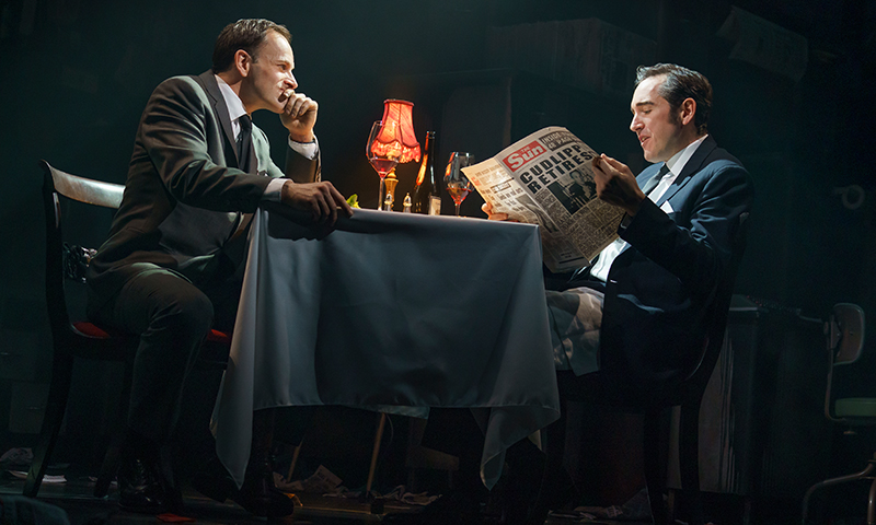 Jonny Lee Miller and Bertie Carvel in <i>Ink</i>. Photo by Joan Marcus.