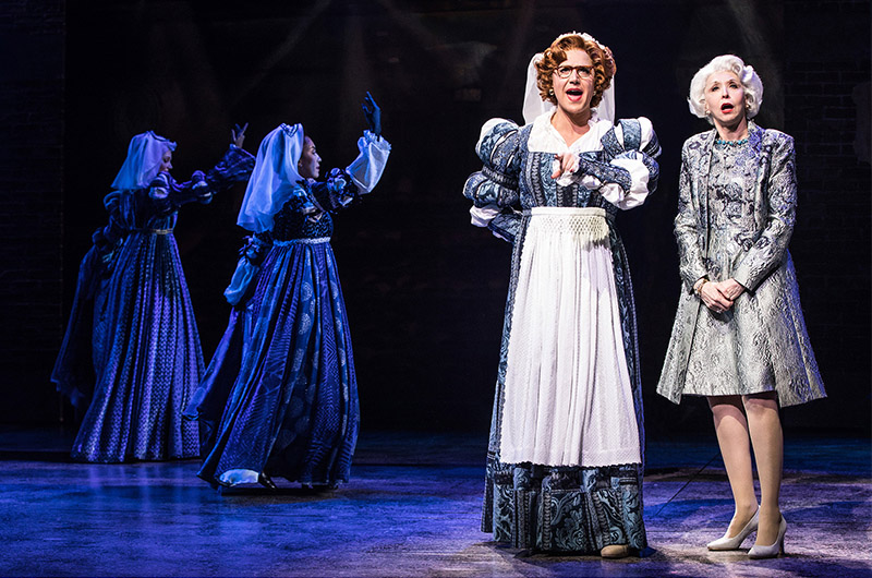 Leslie Donna Flesner, Shina Ann Morris, Santino Fontana and Julie Halston in <i>Tootsie</i>. Photo by Matthew Murphy.