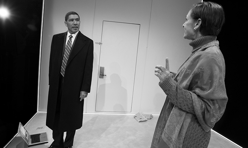 Peter Francis James and Laurie Metcalf in <i>Hillary and Clinton</i>. Photo by Julieta Cervantes.