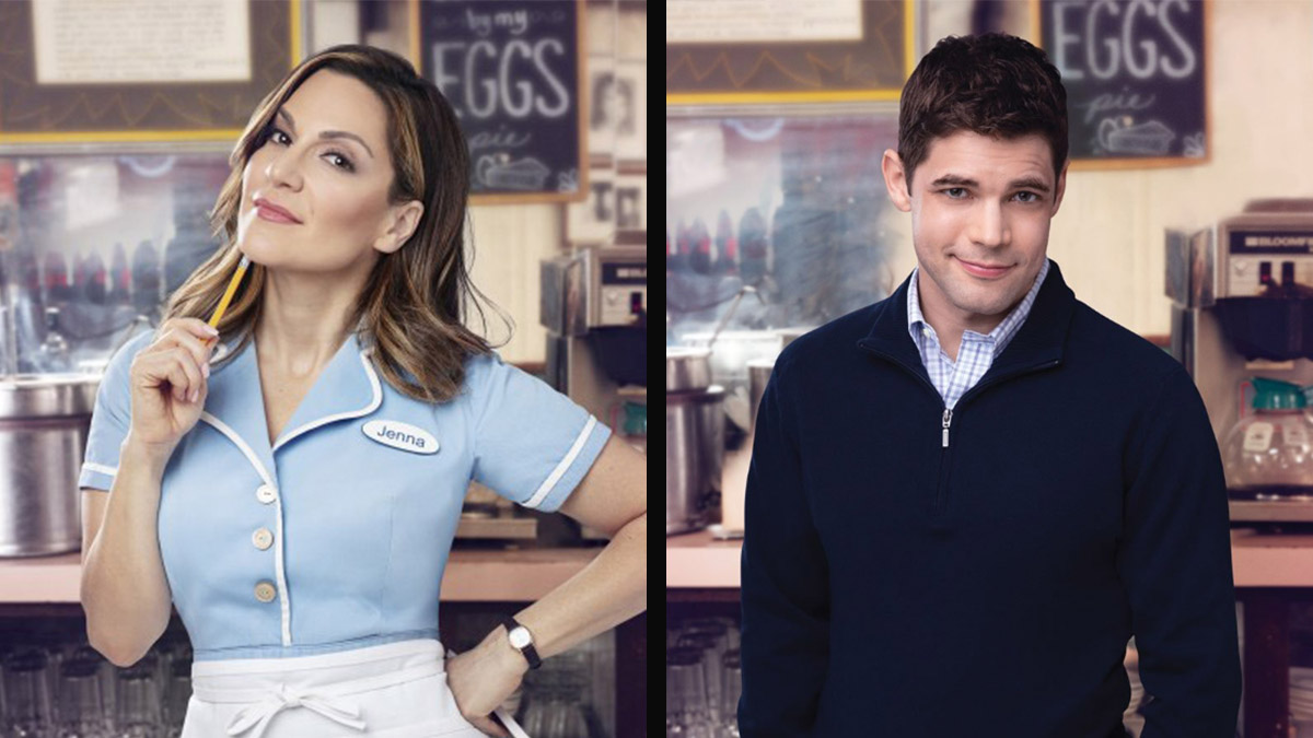 Shoshana Bean and Jeremy Jordan extend in Waitress