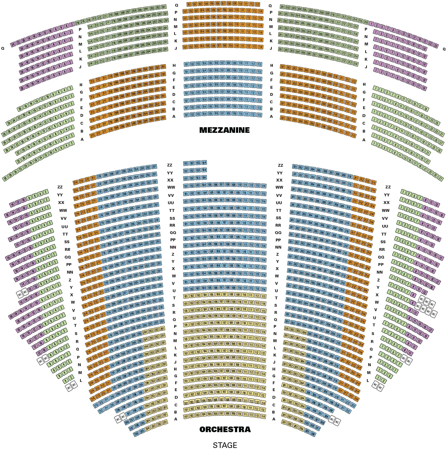 Hollywood Pantages Theatre Seating Map
