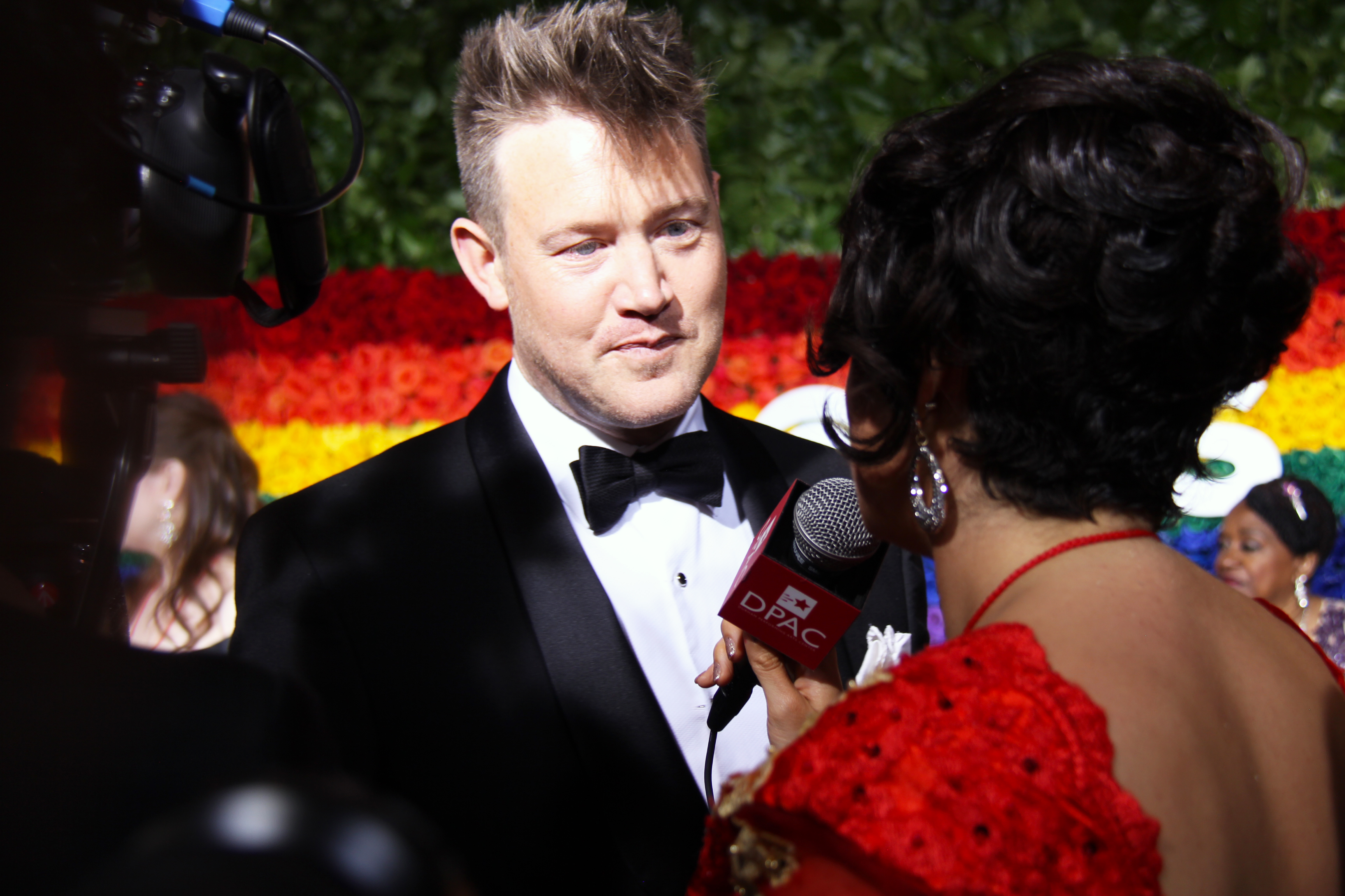 Eddie Perfect from <i>Beetlejuice</i> on the red carpet. Photo by Broadway Direct.