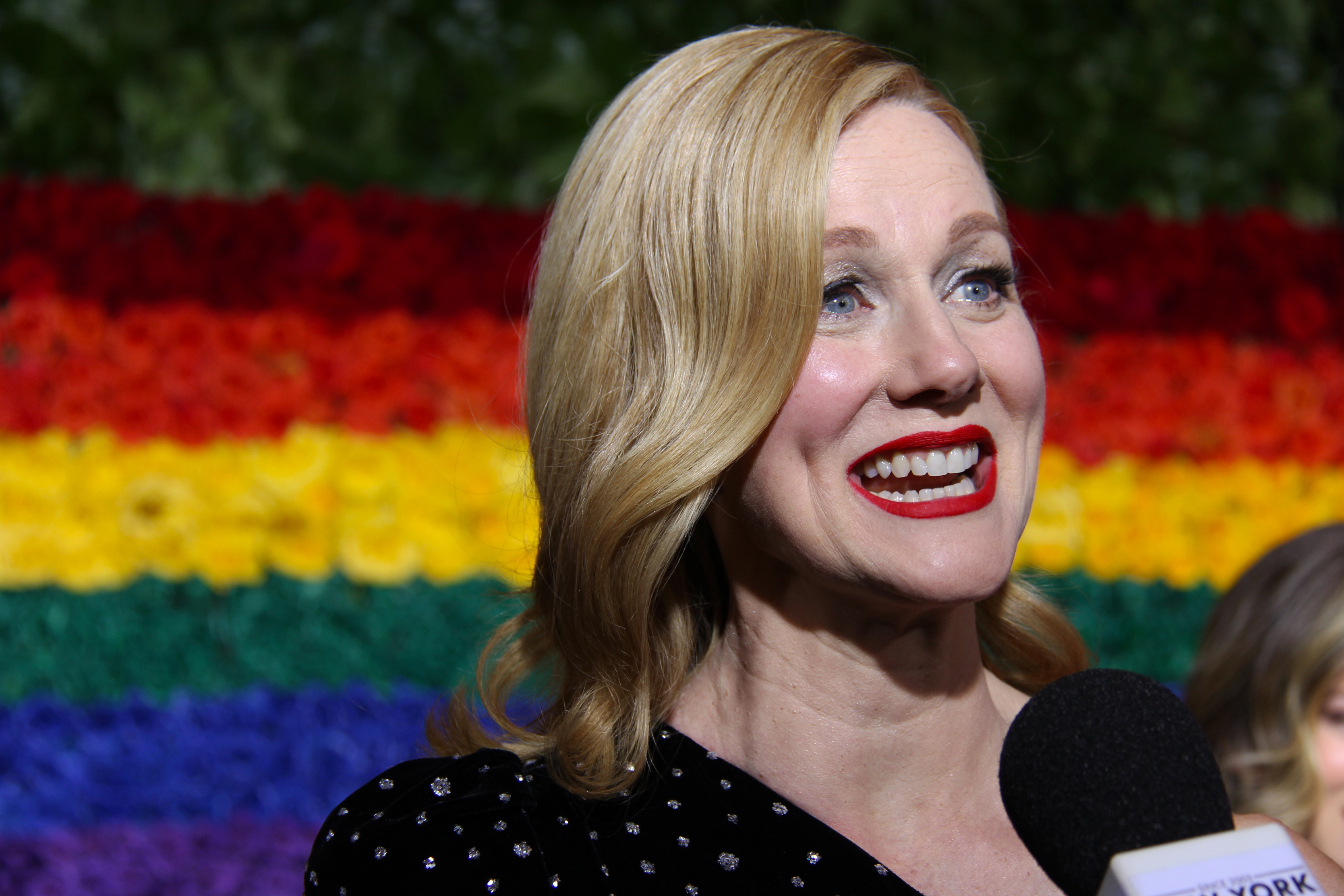 Laura Linney on the Tony Awards red carpet. Photo by Broadway Direct.