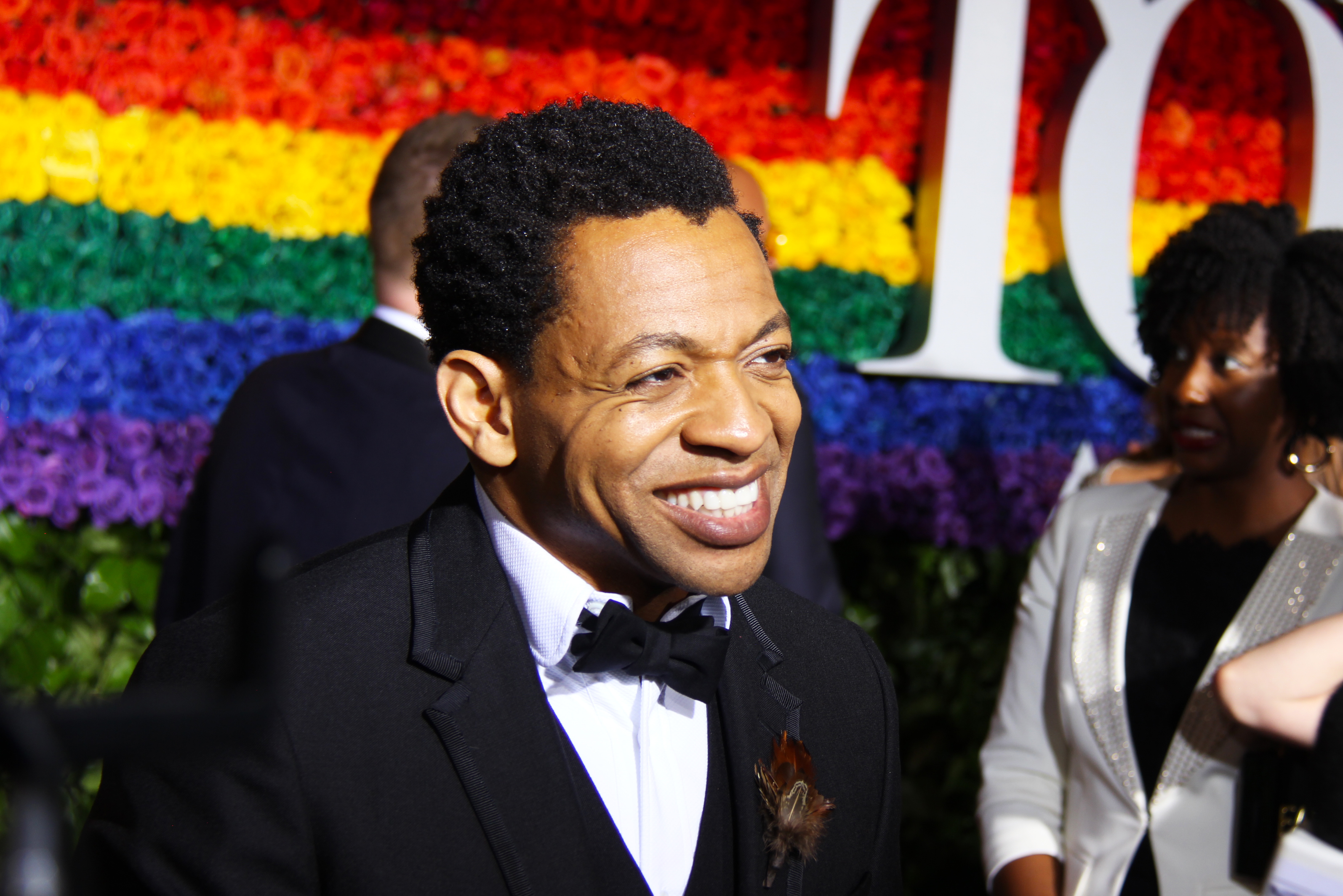Derrick Baskin from <i>Ain't Too Proud - The Life and Times of the Temptations</i> on the Tony Awards red carpet. Photo by Broadway Direct.