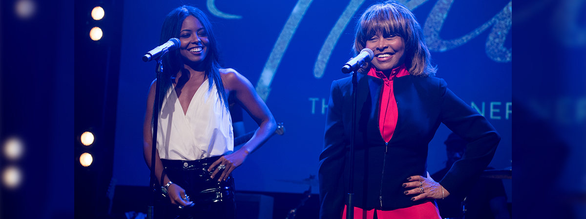 Adrienne Warren and Tina Turner on stage. Photo by Craig Sugden Photography.