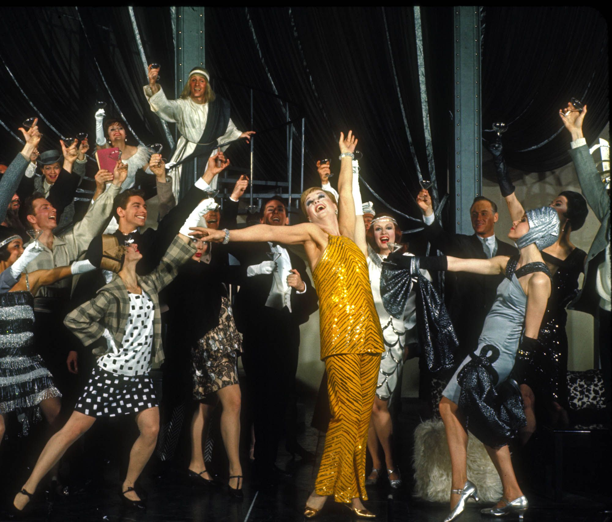 Angela Lansbury and the Broadway company of Mame.