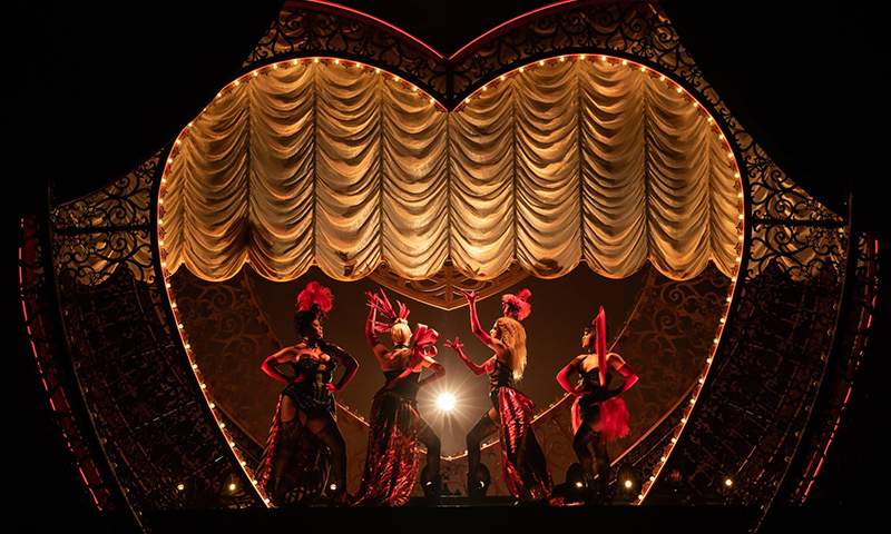 Jacqueline B. Arnold, Robyn Hurder, Holly James, and Jeigh Madjus in <i>Moulin Rouge! The Musical</i>. Photo by Matthew Murphy.