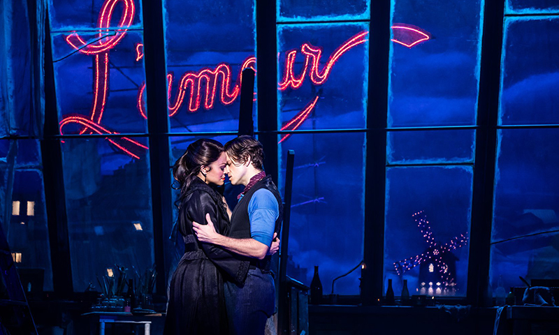 Karen Olivo and Aaron Tveit in <i>Moulin Rouge! The Musical</i>. Photo by Matthew Murphy.