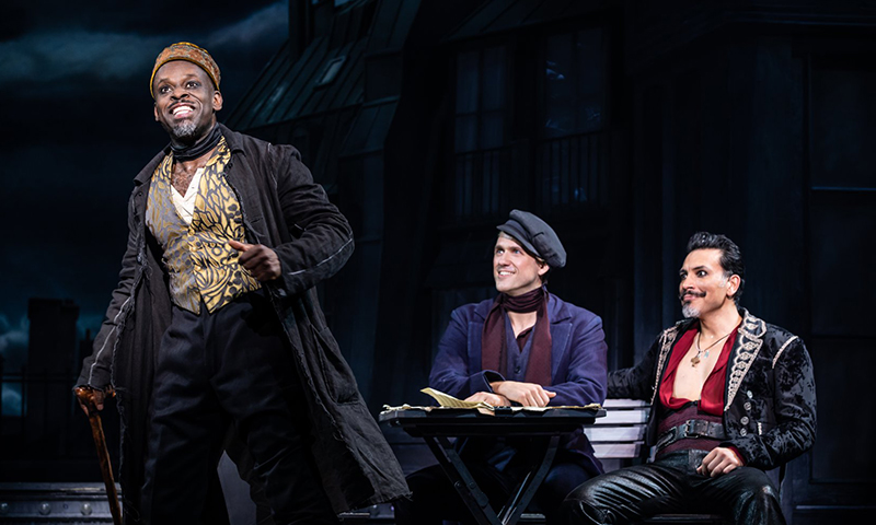 Sahr Ngaujah, Aaron Tveit, and Tam Mutu in <i>Moulin Rouge! The Musical</i>. Photo by Matthew Murphy.