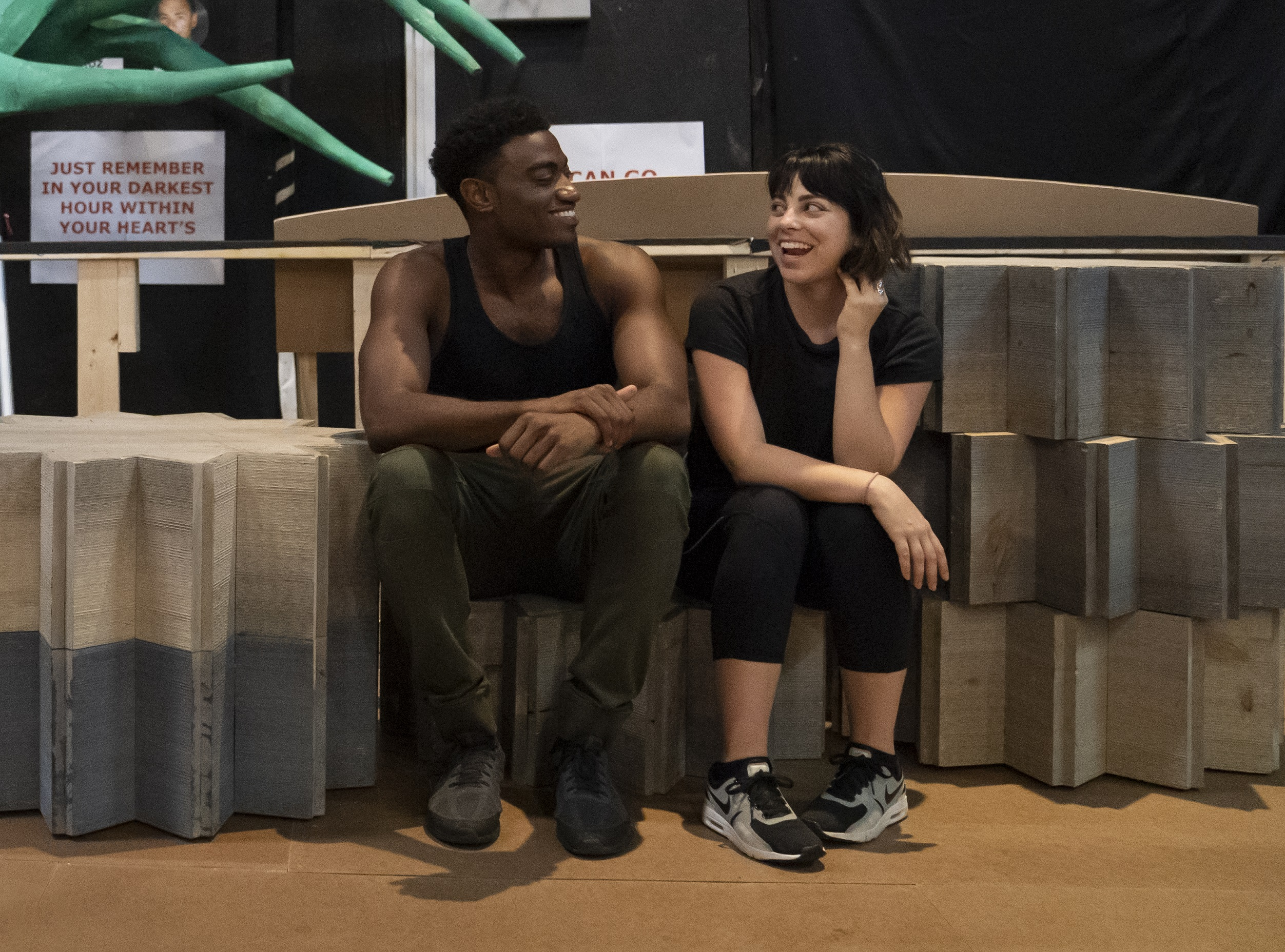 Jelani Alladin and Krysta Rodriguez in rehearsal for Public Works' Hercules, The Public Theater's free production, directed by Lear deBessonet, running at The Delacorte Theater in Central Park starting August 31. Photo credit: Joan Marcus.