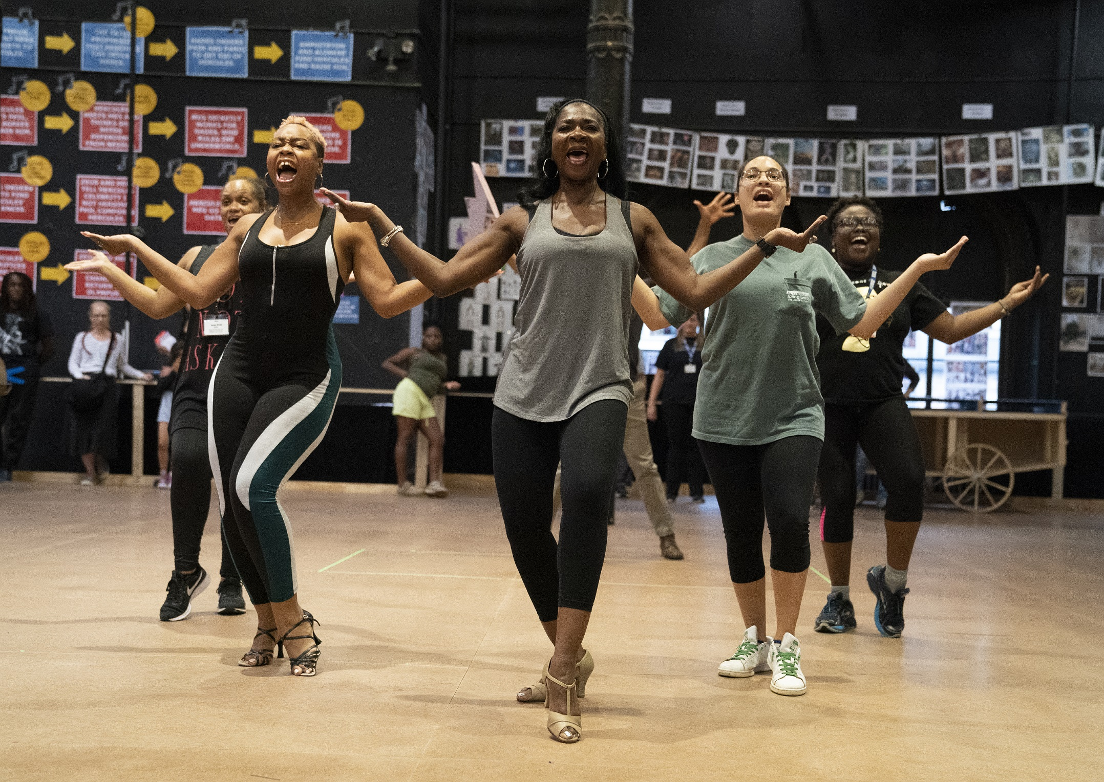 Rema Webb, Tamika Lawrence, Ramona Keller, Brianna Cabrera, and Tieisha Thomas in rehearsal for Public Works' Hercules, The Public Theater's free production, directed by Lear deBessonet, running at The Delacorte Theater in Central Park starting August 31. Photo credit: Joan Marcus.