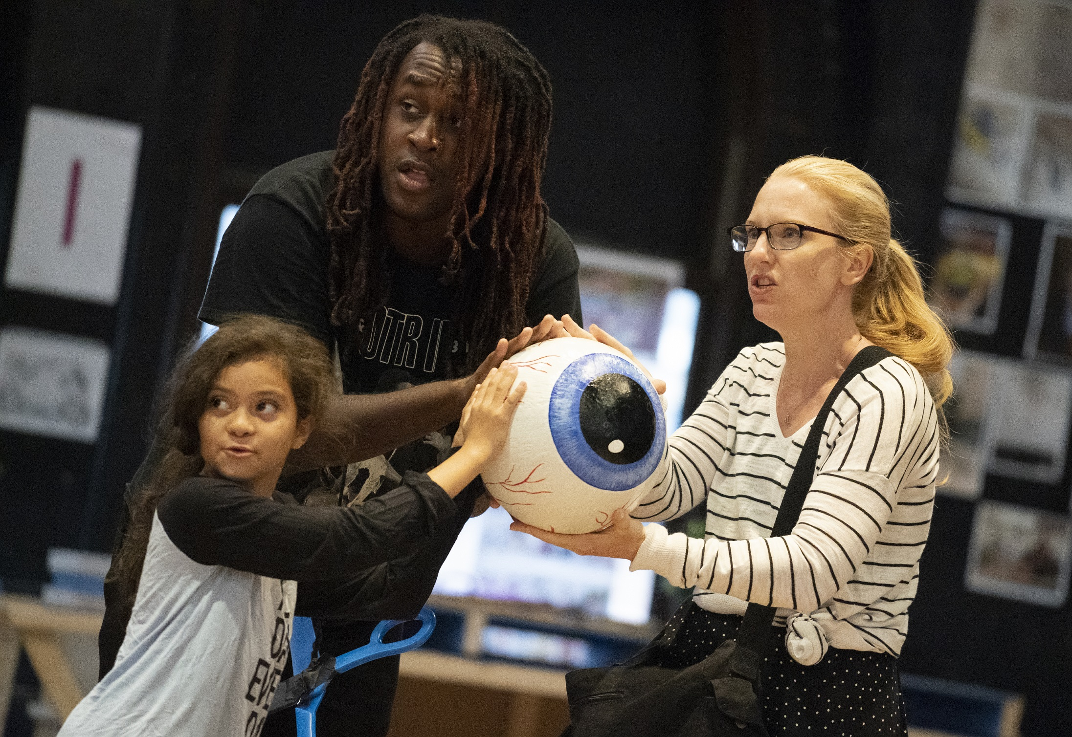 Isabelle Romero, Hasaan Bailey, and Kelly Campbell in rehearsal for Public Works' Hercules, The Public Theater's free production, directed by Lear deBessonet, running at The Delacorte Theater in Central Park starting August 31. Photo credit: Joan Marcus.