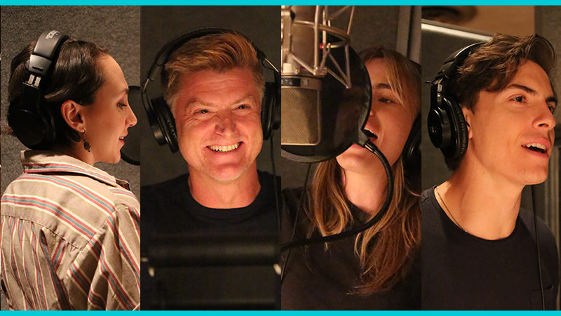 The cast of Jagged Little Pill in the recording studio