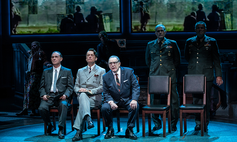 Angela Pierce, Richard Thomas, Frank Wood, Robyn Kerr, Brian Cox, Marc Kudisch, and Brian Dykstra in <i>The Great Society</i>. Photo by Evan Zimmerman.