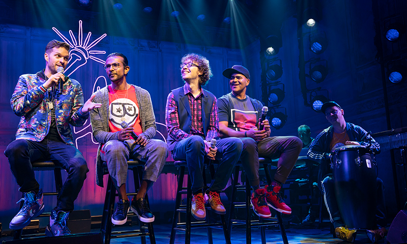 Andrew Bancroft, Utkarsh Ambudkar, Arthur Lewis, Christopher Jackson, Ian Weinberger, and Chris Sullivan in <i>Freestyle Love Supreme</i>. Photo by Joan Marcus.