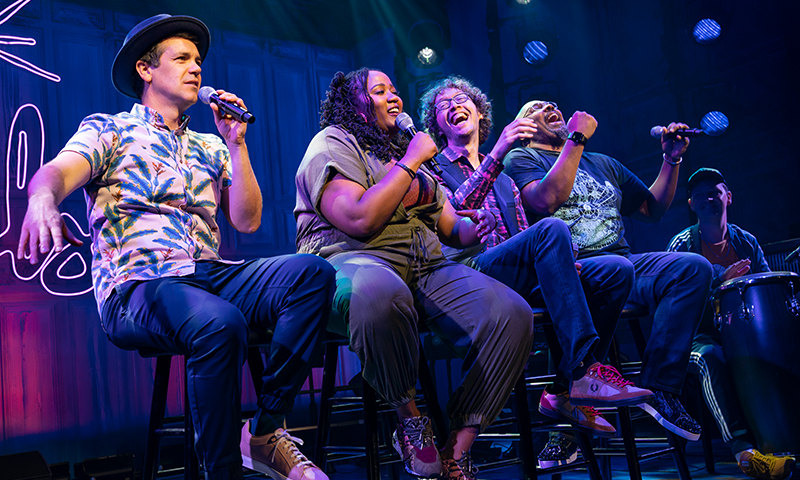 Anthony Veneziale, Aneesa Folds, Arthur Lewis, James Monroe Iglehart, and Chris Sullivan in <i>Freestyle Love Supreme</i>. Photo by Joan Marcus.