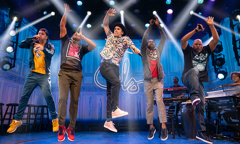 Chris Sullivan, Christopher Jackson, Anthony Veneziale, Utkarsh Ambudkar, James Monroe Iglehart, Kurt Crowley, and Arthur Lewis in <i>Freestyle Love Supreme</i>. Photo by Joan Marcus.