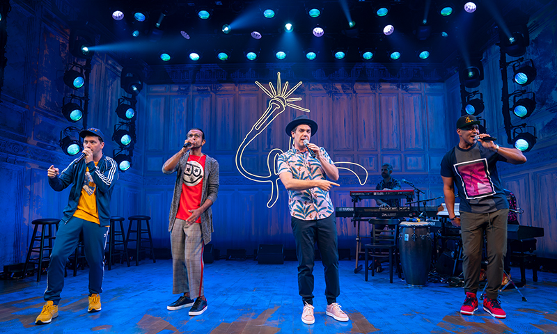 Chris Sullivan, Utkarsh Ambudkar, Anthony Veneziale, Christopher Jackson, and Kurt Crowley in <i>Freestyle Love Supreme</i>. Photo by Joan Marcus.