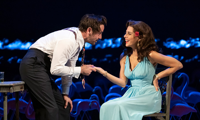 Emun Elliott and Marisa Tomei in <i>The Rose Tattoo</i>. Photo by Joan Marcus.