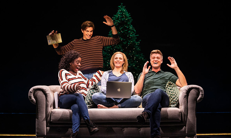 Celia Rose Gooding, Derek Klena, Elizabeth Stanley, and Sean Allen Krill in <i>Jagged Little Pill</i>. Photo by Matthew Murphy.