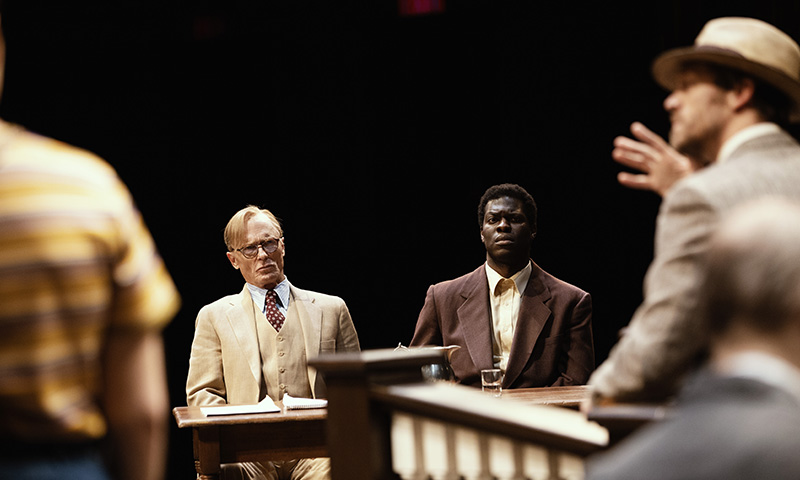 Ed Harris and Kyle Scatliffe in <i>To Kill a Mockingbird</i>. Photo by Julieta Cervantes.