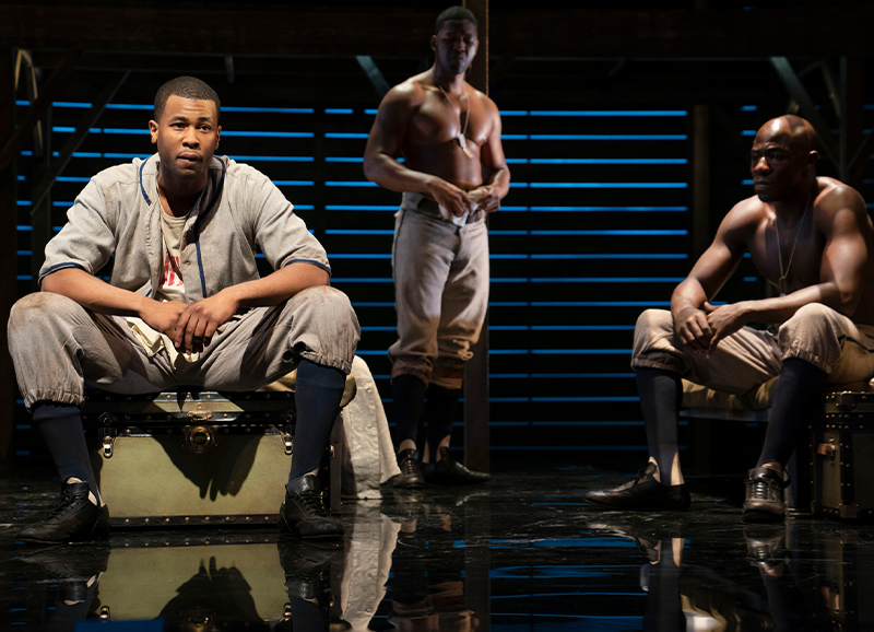 Rob Demery, J. Alphonse Nicholson, and McKinley Belcher III in <i>A Soldier's Play</i>. Photo by Joan Marcus.