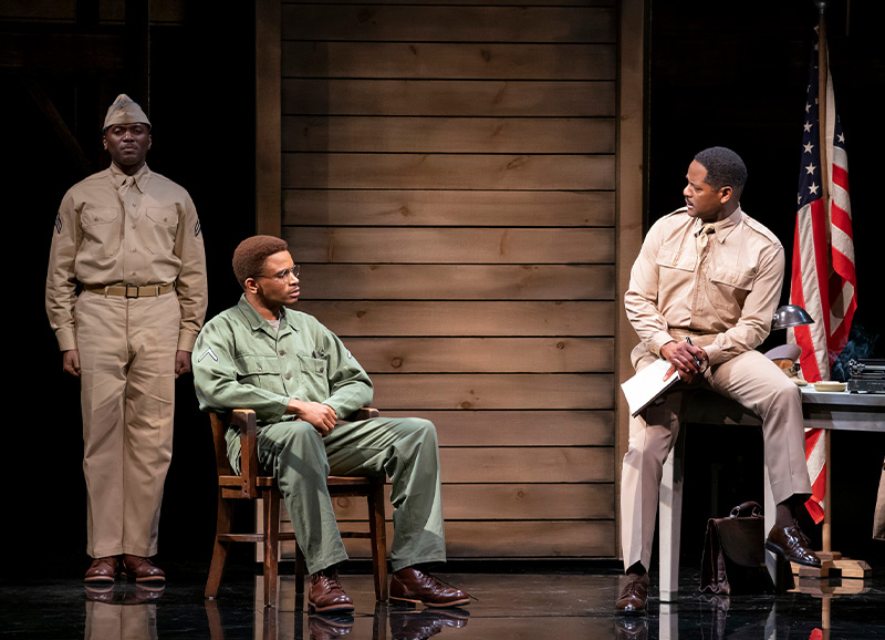 Warner Miller, Nnamdi Asonmugha, and Blair Underwood in <i>A Soldier's Play</i>. Photo by Joan Marcus.