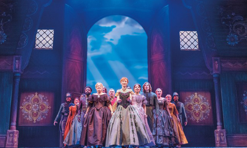 Caroline Innerbichler and the cast of the national tour of <i>Frozen</i>. Photo by Deen van Meer.