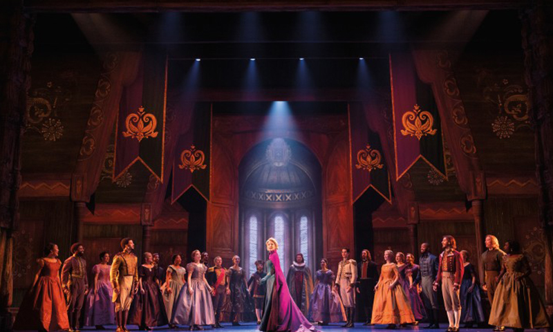 Caroline Bowman and the cast of the national tour of <i>Frozen</i>. Photo by Deen van Meer.