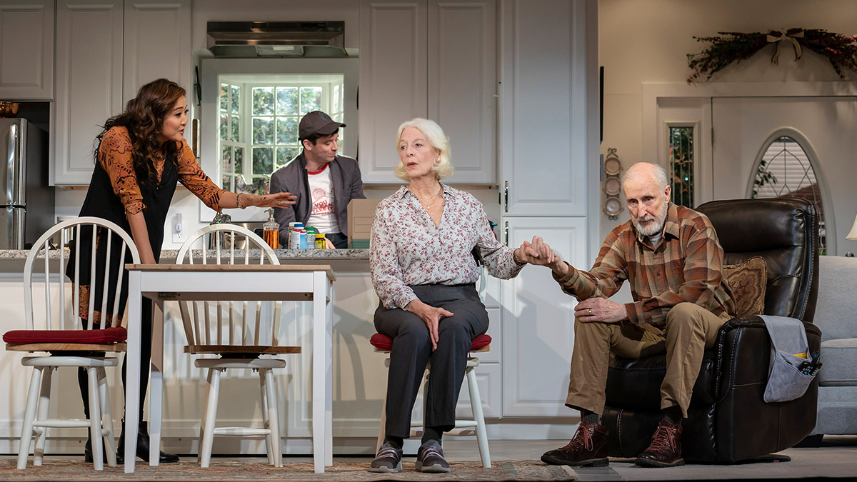 Ashley Park, Michael Urie, Jane Alexander, and James Cromwell in Grand Horizons. Photo by Joan Marcus.