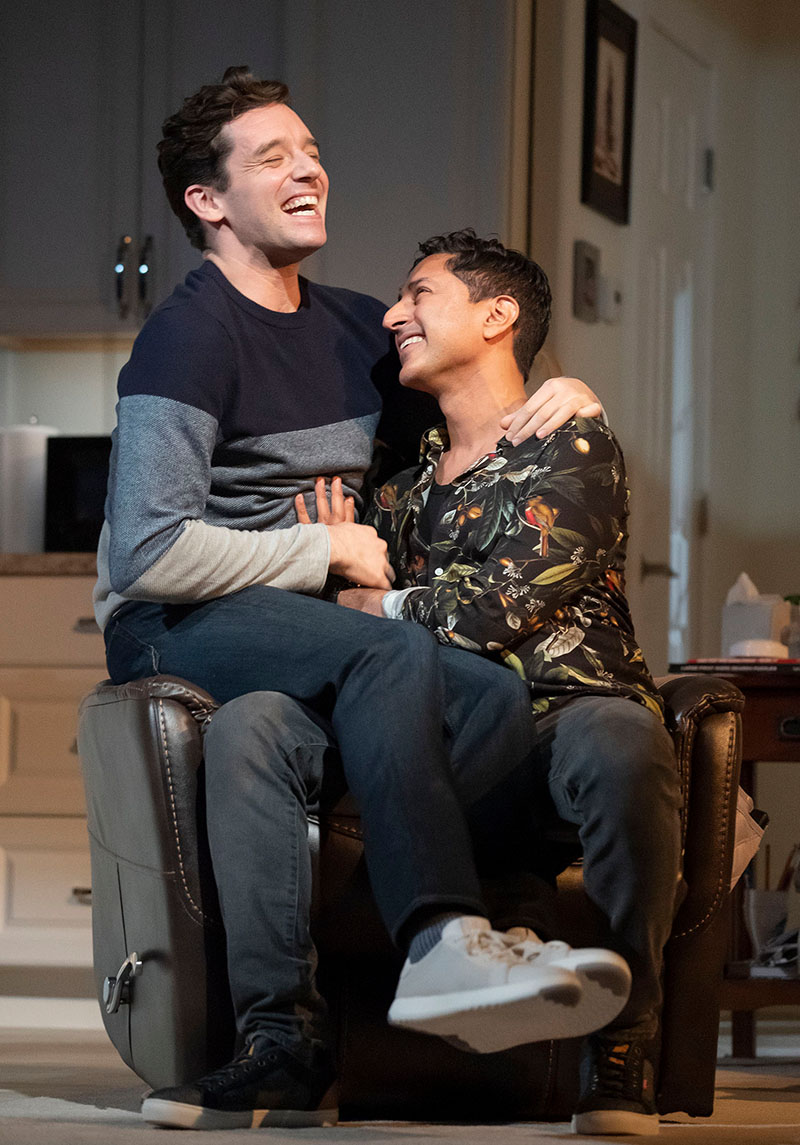 Michael Urie and Maulik Pancholy in <i>Grand Horizons</i>. Photo by Joan Marcus.