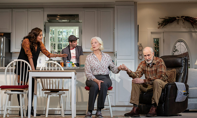 Ashley Park, Michael Urie, Jane Alexander, and James Cromwell in <i>Grand Horizons</i>. Photo by Joan Marcus.
