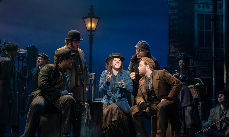Shavey Brown, Mark Aldrich, Shereen Ahmed, William Michals, and Colin Anderson in the national tour of <i>My Fair Lady</i>. Photo by Joan Marcus.